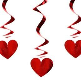Διακοσμητικά οροφής Κόκκινες Καρδιές (3 τεμ)