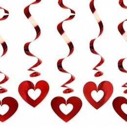 Διακοσμητικά οροφής Κόκκινες Καρδιές (5 τεμ)