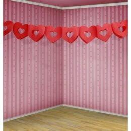Διακοσμητική κόκκινη γιρλάντα με Καρδιές 3μ