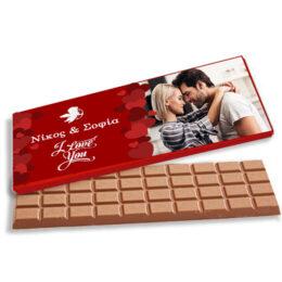 Γίγας σοκολάτα Βαλεντίνου με Ονόματα και Φωτογραφία