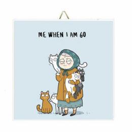 """Ξύλινο Καδράκι Anti-Valentine's Day """"Γεροντοκόρη με γάτες"""""""