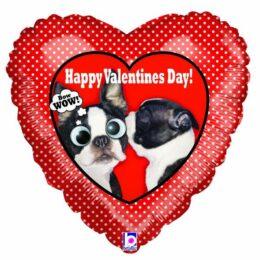 """Μπαλόνι Καρδιά Σκυλάκια """"Happy Valentine's Day"""""""