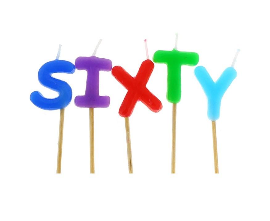"""Πολύχρωμα Κεράκια """"Sixty"""" (5 τεμ)"""