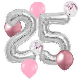 Σετ Μπαλόνια Γενεθλίων Αριθμοί 25 Ασημί (8 τεμ)
