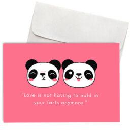 """Χιουμοριστική Κάρτα Αγάπης Panda """"Love & Farts"""""""