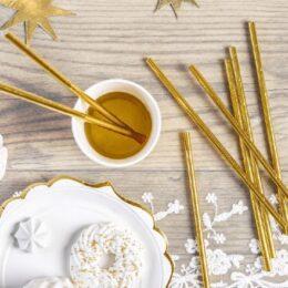 Χρυσά Καλαμάκια χάρτινα (10 τεμ)