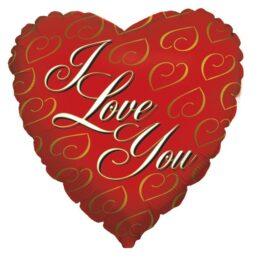 """Μπαλόνι Κόκκινη Καρδιά """"I Love You"""" χρυσά σχέδια"""