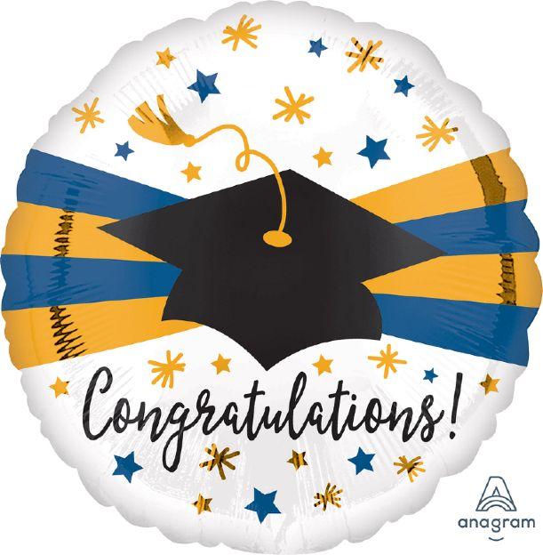 Μπαλόνι Αποφοίτησης Congratulations Μπλε & Χρυσό
