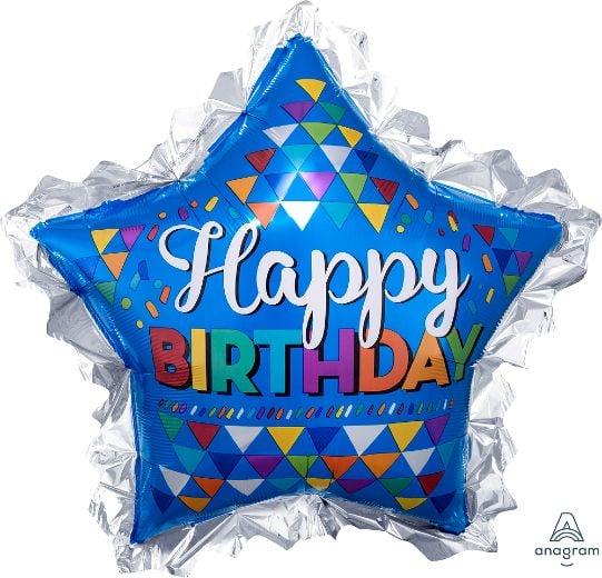 Μπαλόνι Αστέρι Happy Birthday Μπλε & Ασημί 86cm