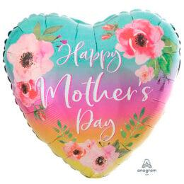 """Μπαλόνι Καρδιά """"Happy Mothers Day"""" Λουλούδια & Όμπρε"""