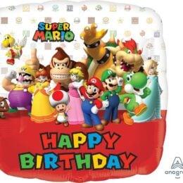 Μπαλόνι Σούπερ Μάριο Happy Birthday τετράγωνο