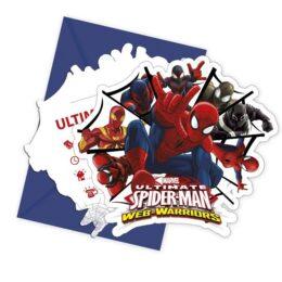 Προσκλήσεις πάρτυ Spiderman – Web Warriors (6 τεμ)