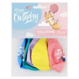 Σετ Μπαλόνια Happy Birthday Αλεπουδάκι (5 τεμ)