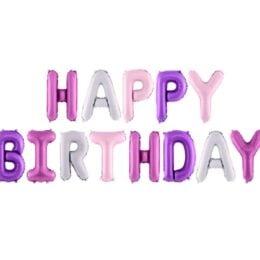 """Σετ μπαλονιών """"Happy Birthday"""" Ροζ & Μοβ"""
