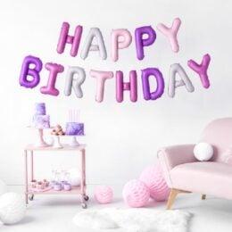 """Σετ μπαλονιών """"Happy Birthday"""" Ροζ & Μοβ Mix (13 τεμ)"""