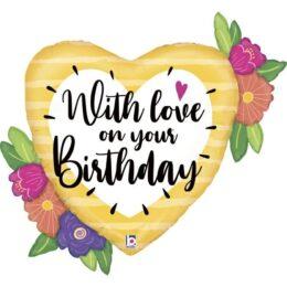 """Μπαλόνι Φλοράλ Καρδιά """"With Love on your Birthday"""""""