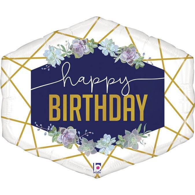 Μπαλόνι γεωμετρικό navy Happy Birthday
