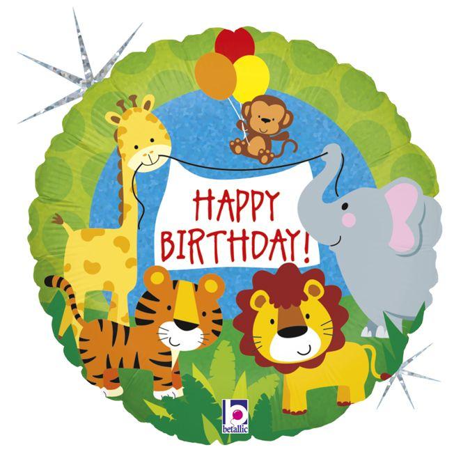 Μπαλόνι Ζωάκια Ζούγκλας Happy Birthday