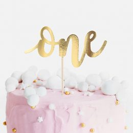 Topper τούρτας One Χρυσό
