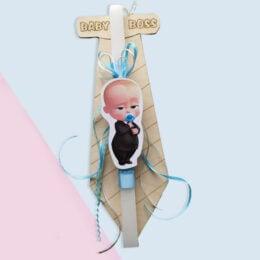 Λαμπάδα Baby Boss - Ξύλινο Κάδρο Γραβάτα