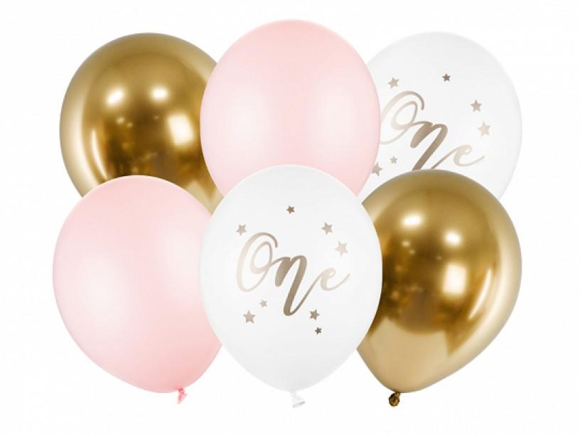 """Σετ Μπαλόνια """"One"""" Ροζ mix (6 τεμ)"""