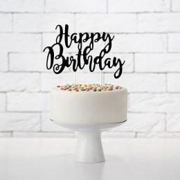 Topper τούρτας Happy Birthday Μαύρο