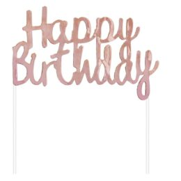 Topper τούρτας Happy Birthday Ροζ χρυσό