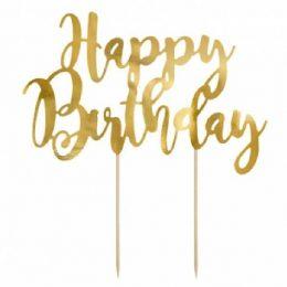 Topper τούρτας Happy Birthday Χρυσό