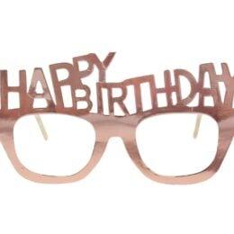Χάρτινα Rosegold Γυαλιά Happy Birthday (4 τεμ)