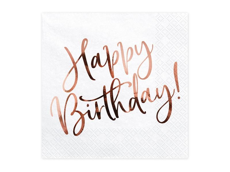 Χαρτοπετσέτες Happy Birthday Ροζ Χρυσό (20 τεμ)