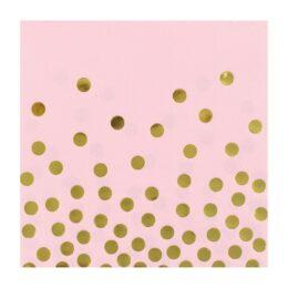 Χαρτοπετσέτες Ροζ με χρυσό πουά (12 τεμ)