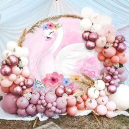 Διακόσμηση βάπτισης με μπαλόνια Κύκνος