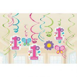 Διακοσμητικά Οροφής Swirls 1st Birthday Girl (12 τεμ)