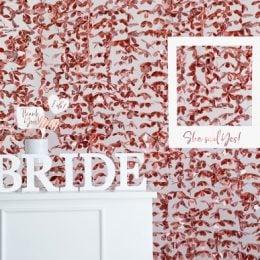 Διακοσμητική Κουρτίνα Backdrop με rosegold Λουλούδια