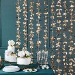 Διακοσμητική Κουρτίνα Backdrop με χρυσά Λουλούδια