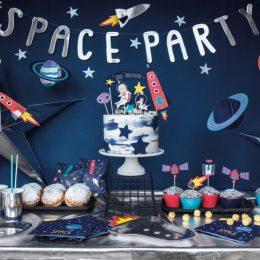 """Διακοσμητικό μπάνερ ασημί """"Space Party"""""""