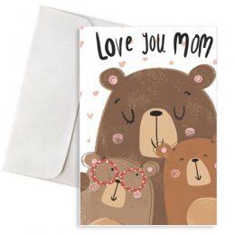 """Ευχετήρια Κάρτα """"Αρκουδάκια Love You Mom"""""""