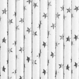 Καλαμάκια χάρτινα Λευκά με ασημί αστέρια (10 τεμ)