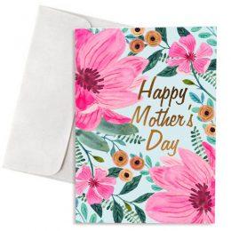 Κάρτα Γιορτή Μητέρας Ροζ Λουλούδια