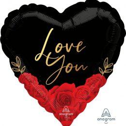 Μπαλόνι Καρδιά Love You Romantic Roses