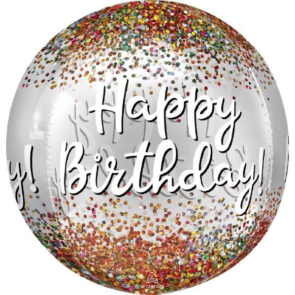 Μπαλόνι σφαίρα ORBZ Happy Birthday κομφετί