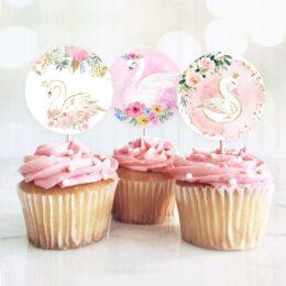 Topper Cupcake Κύκνος (8 τεμ)