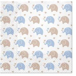 Χαρτοπετσέτες Baby Elephant γαλάζιο (20 τεμ)