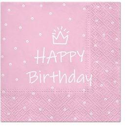 Χαρτοπετσέτες Happy Birthday κορωνίτσα ροζ (20 τεμ)