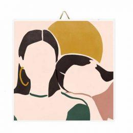 """Ξύλινο Καδράκι """"Mother & Daughter"""""""