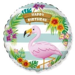 Μπαλόνι Φλαμίνγκο Happy Birthday