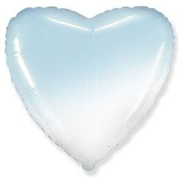 """Μπαλόνι Καρδιά Όμπρε Άσπρο-Γαλάζιο 18"""""""