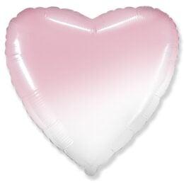Μπαλόνι Καρδιά Όμπρε Άσπρο-Ροζ