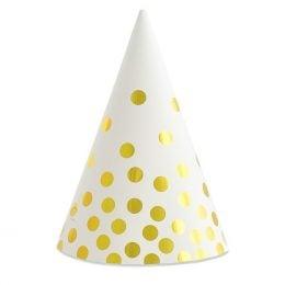 Καπέλα πάρτυ Άσπρα με πουά (6 τεμ)