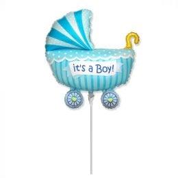 Mini Shape μπαλόνι Its a boy Καροτσάκι Μπλε